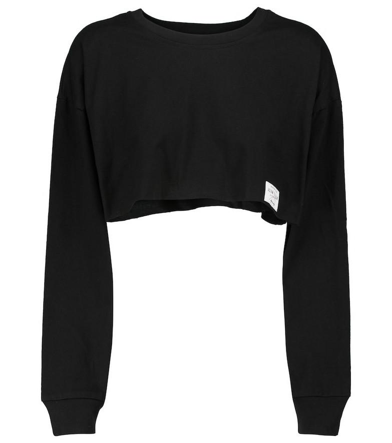 Adam Selman Sport Cropped cotton sweatshirt in black