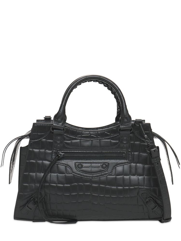 BALENCIAGA Xs Ville Day Leather Shoulder Bag in black