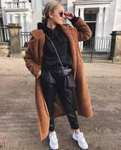 pants,leather pants,black pants,white sneakers,black bag,teddy bear coat,black hoodie