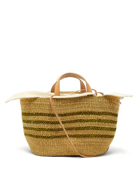Muuñ Muuñ - Bicro P Leather-trimmed Woven Elephant Grass Bag - Womens - Green Multi