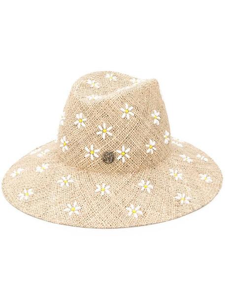 Maison Michel Kate fedora hat in neutrals