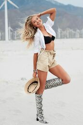 shorts,romee strijd,model off-duty,coachella,coachella outfit,celebrity,boots,top