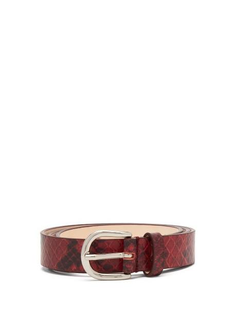 Isabel Marant - Zap Snake Effect Leather Belt - Womens - Burgundy
