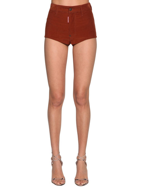 DSQUARED2 High Waist Corduroy Shorts in brown