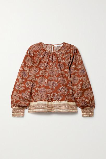 Veronica Beard - Kester Floral-print Cotton-blend Poplin Peplum Blouse - Red
