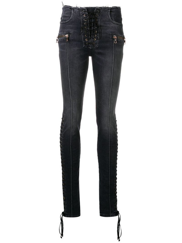 UNRAVEL PROJECT lace-up skinny jeans in black