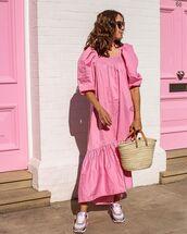 dress,pink dress,maxi dress,sneakers,summer dress,summer outfits,bag