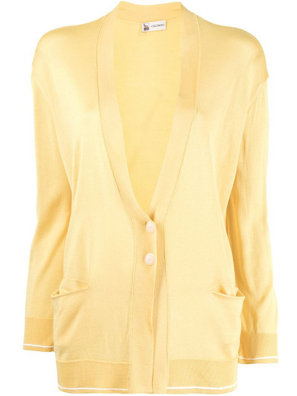 Colombo loose-fit fine-knit silk cardigan in yellow