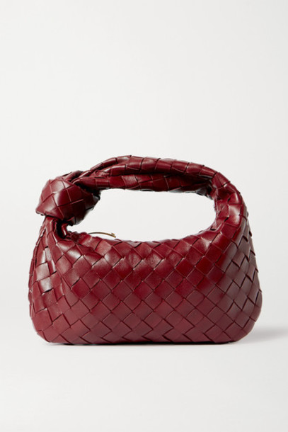Bottega Veneta - Jodie Mini Knotted Intrecciato Textured-leather Tote - Burgundy