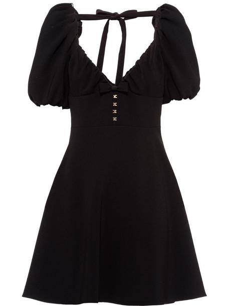 Miu Miu short-puff sleeves cady dress in black