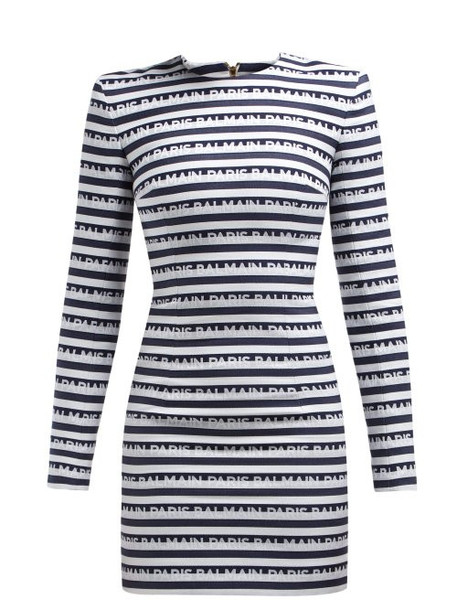 Balmain - Logo Jacquard Cotton Mini Dress - Womens - Navy White