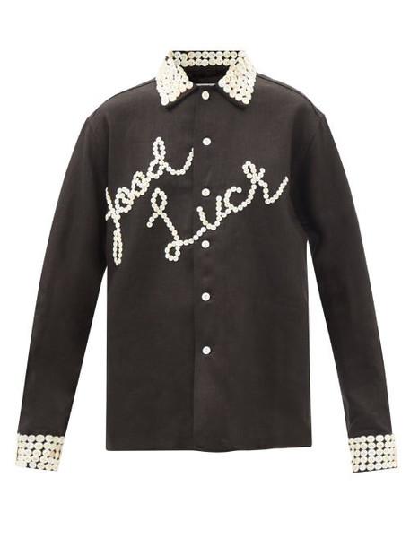 Bode - Good Luck Button-embellished Linen Shirt - Womens - Black