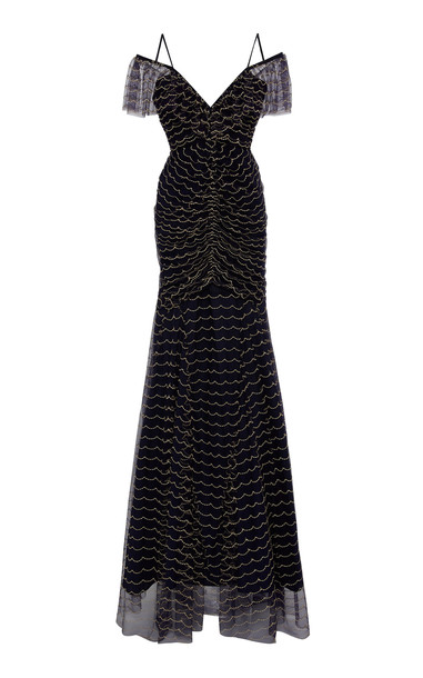 Alice McCall Venus Valentine Beaded Silk-Chiffon Gown Size: 8 in navy