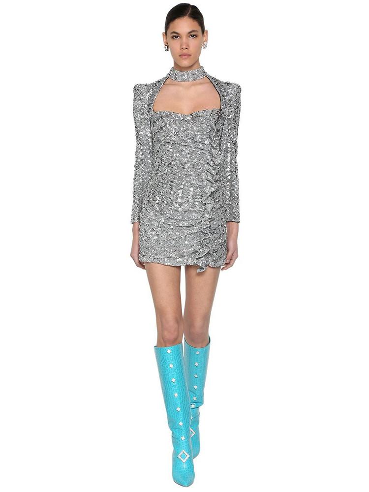 GIUSEPPE DI MORABITO Sequined Mini Dress W/ Ruffles in silver
