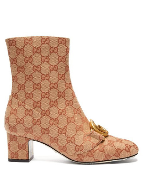 Gucci - Victoire Gg Canvas Ankle Boots - Womens - Beige Multi