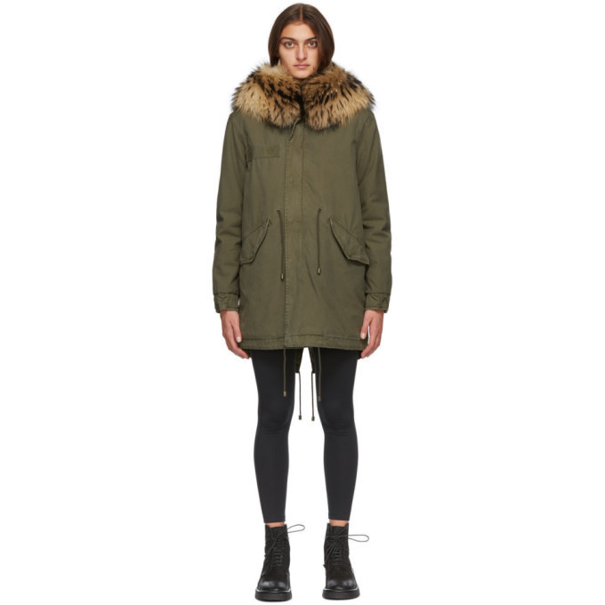Mr and Mrs Italy Green Fur Jazzy Midi Parka in natural