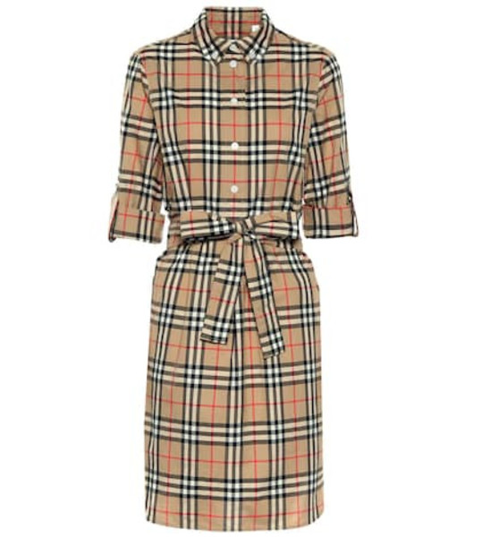 Burberry Check cotton shirt dress in beige