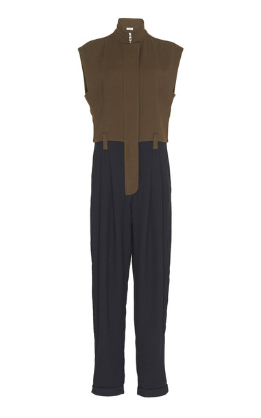 Loewe Two-Tone Twill Straight-Leg Jumpsuit Size: 34