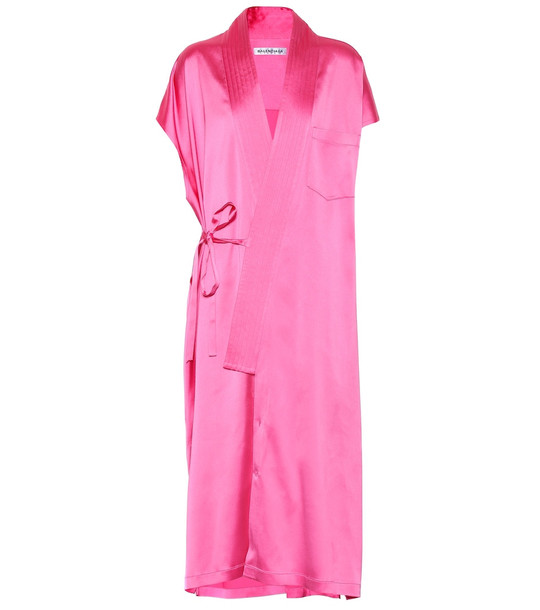 Balenciaga Judo stretch-satin midi dress in pink
