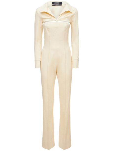 JACQUEMUS La Combinaison Asao Canvas Jumpsuit in white