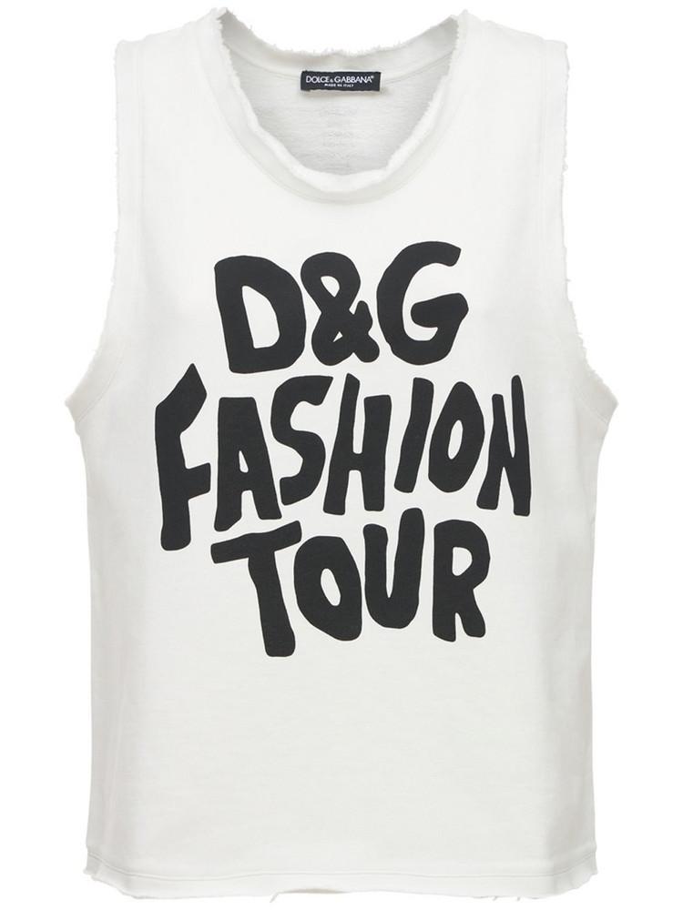 DOLCE & GABBANA Cotton Jersey Logo Sleeveless T-shirt in black / white