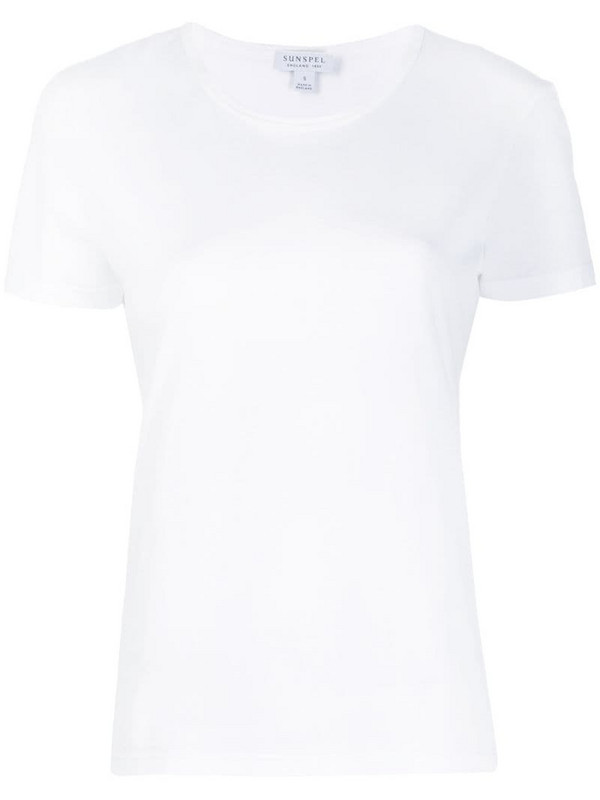 Sunspel round neck T-shirt in white