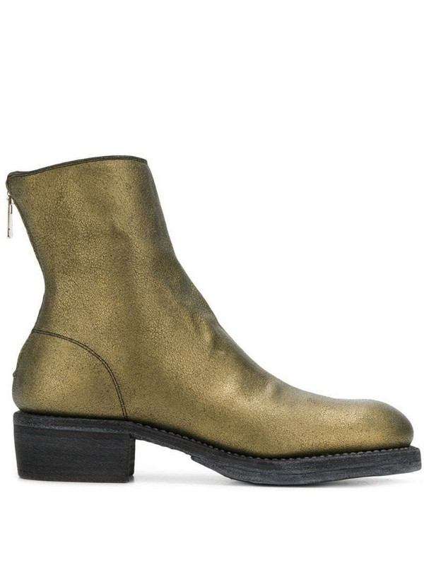 Guidi metallic ankle boots in gold