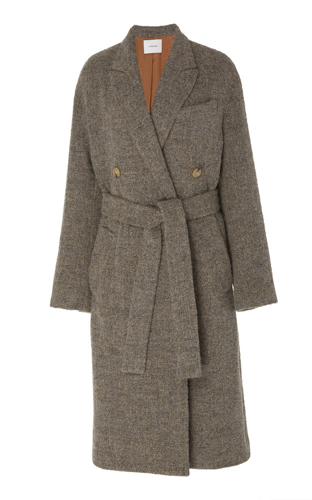 Vince Textured Wool-Knit Coat in grey