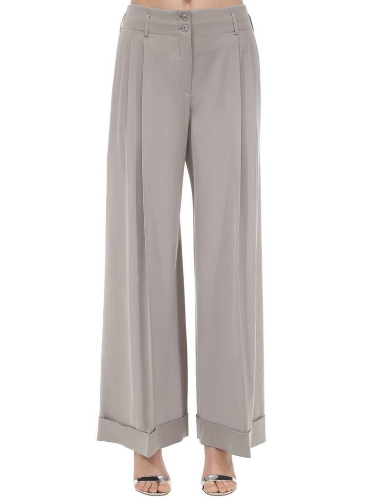 GIORGIO ARMANI Wide Leg Cady Pants in grey