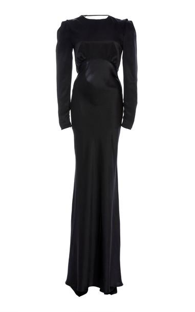 Alessandra Rich Silk-Satin Gown in black