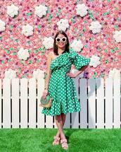 dress,mini dress,green dress,one shoulder,polka dots,handbag,sandals,white sunglasses