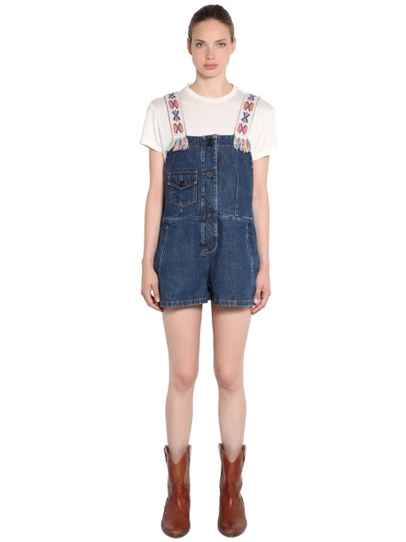 ALANUI Embroidered Strap Cotton Denim Jumpsuit in blue