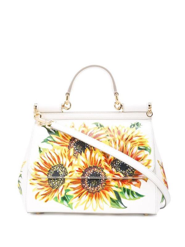 Dolce & Gabbana sunflower print Sicily bag in white