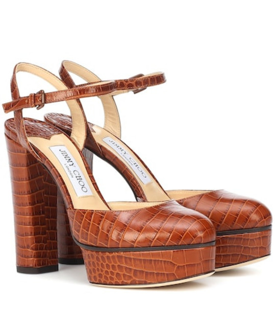 Jimmy Choo Maple 125 croc-effect leather pumps in brown