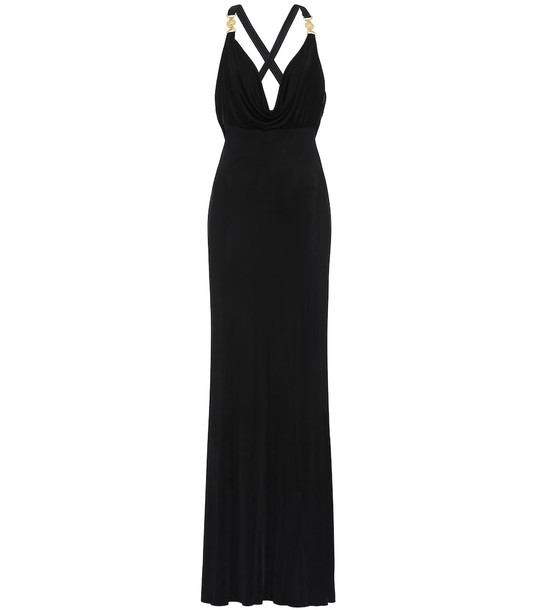 Versace Embellished satin gown in black