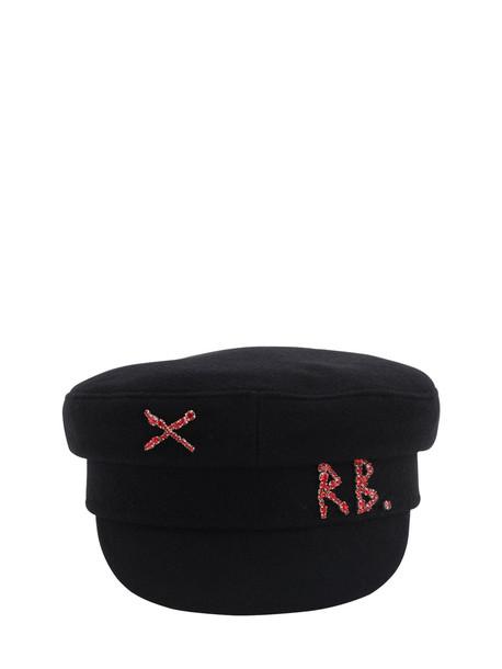 RUSLAN BAGINSKIY Baker Boy Wool Hat W/ Crystals in black