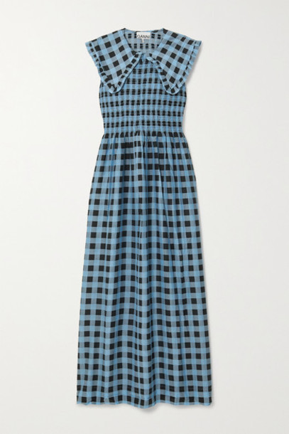 GANNI - Smocked Checked Cotton And Silk-blend Maxi Dress - Blue