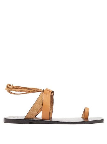 A.emery - Paige Wrap Around Leather And Suede Sandals - Womens - Tan