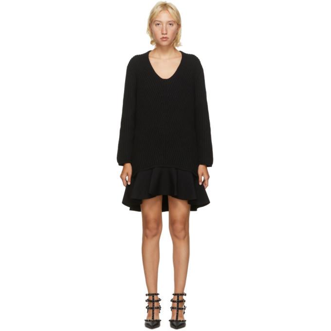 Valentino Black Wool Frill Dress in nero
