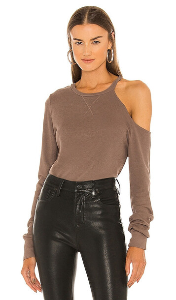 LA Made Iconic Cold Shoulder Top in Brown