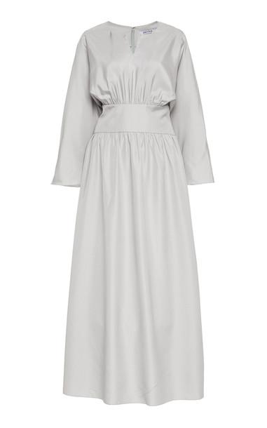Deitas Hera Cotton Blend Gathered Midi Dress in grey