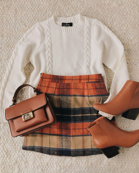 skirt sweater bag shoes