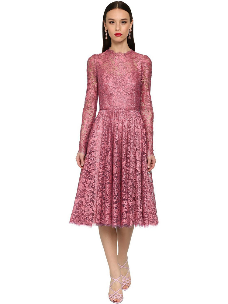 DOLCE & GABBANA Flared Chantilly Lace Lamé Midi Dress in pink