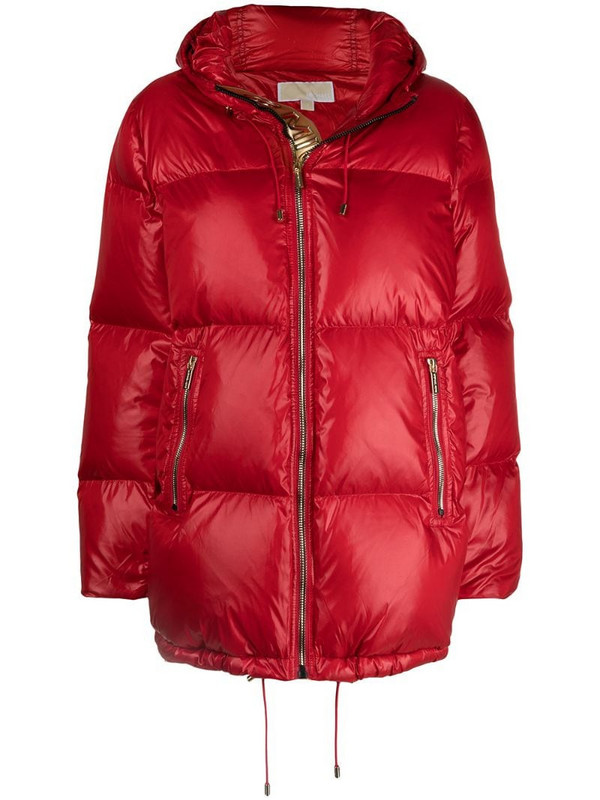 Michael Michael Kors quilted padded hooded jacket in red