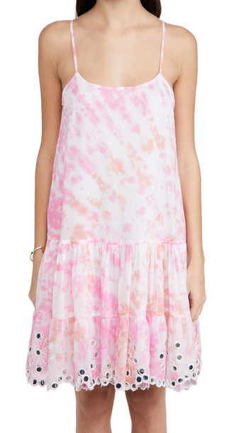 Juliet Dunn Strappy Dress in coral / pink / white