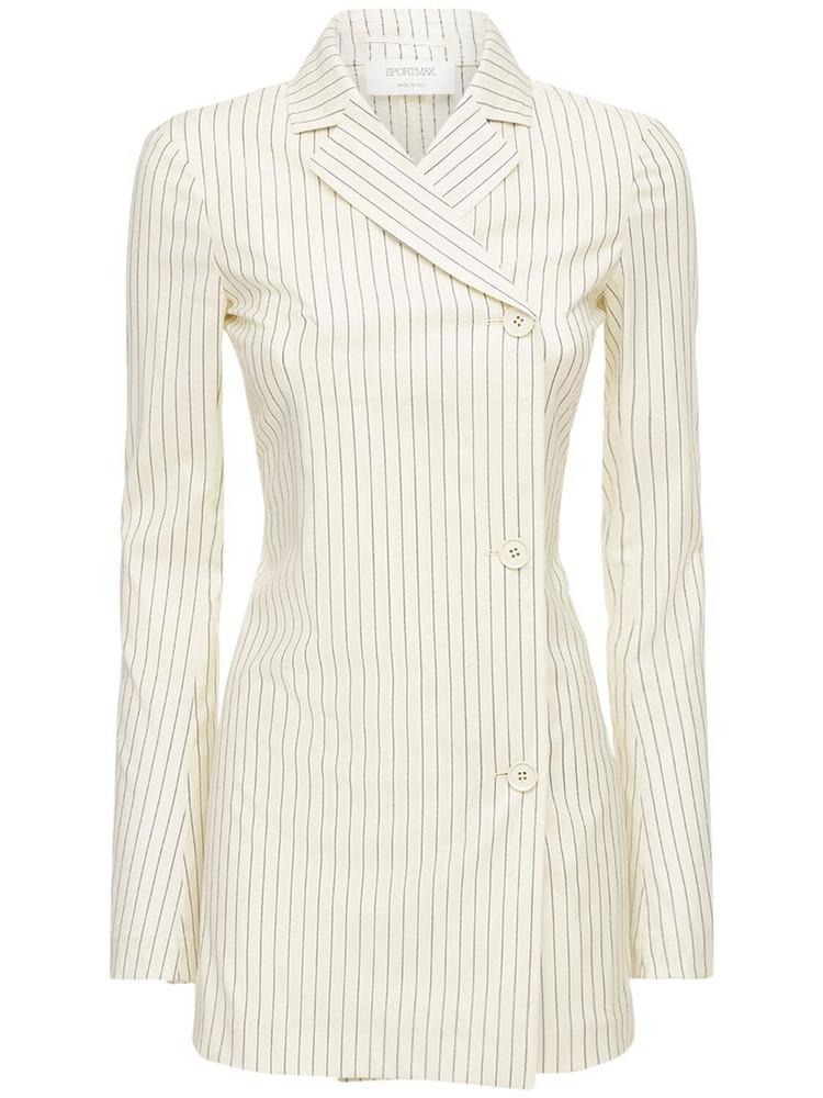 SPORTMAX Bisso Striped Wool Blended Blazer in blue / white