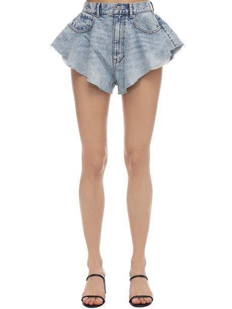 ALEXANDER WANG Ruffled Cotton Blend Denim Shorts in blue