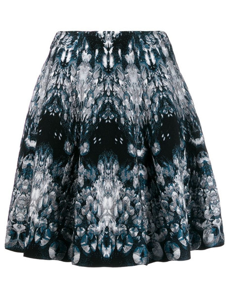 Alexander McQueen abstract pattern knitted skirt in blue