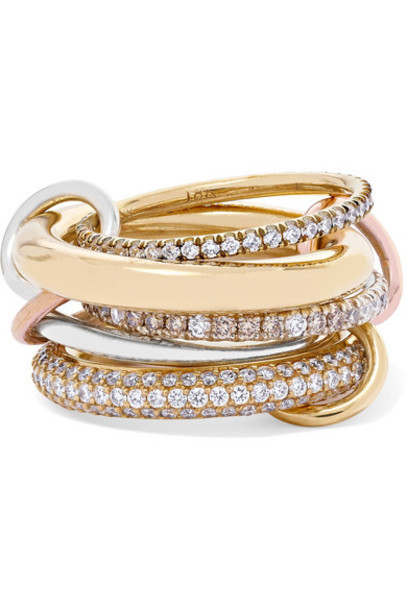 Spinelli Kilcollin - Set Of Five 18-karat Yellow And Rose Gold And Sterling Silver Diamond Rings