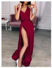 dress,red wine dress,bridesmaid